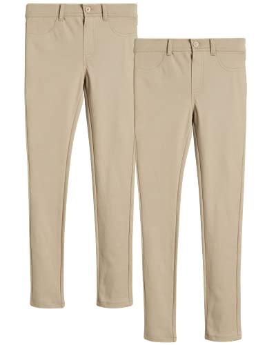 U.S. Polo Assn. Girls' School Uniform Pants - Ponte Stretch Jegging Khaki Pants (2 Pack), Size 10, Khaki