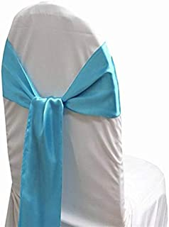 mds Pack of 25 Satin Chair Sashes Bow sash for Wedding and Events Supplies Party Decoration Chair Cover sash -Terquoise