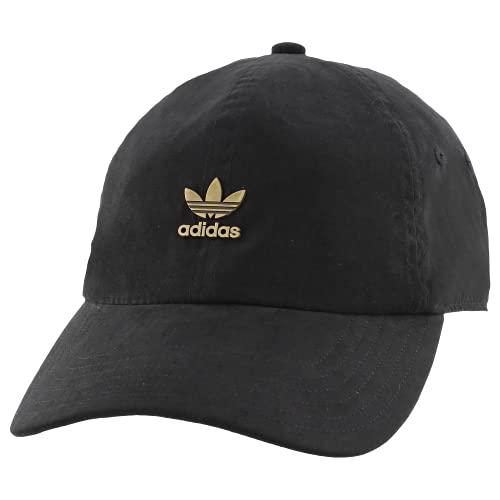 adidas Originals Men's Metal Logo 2 Relaxed Fit Strapback Cap, Black/Antique Gold, ONE SIZE