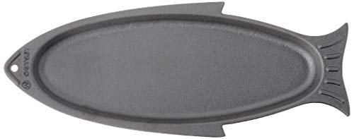 Outset 76376 Fish Cast Iron Grill and Serving Pan Black, 18.9 x 7.28 x 0.98 inches