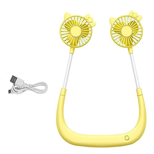 NIU Ventilador Portátil con Collar USB Sin Manos, Ajuste De 3 Velocidades, Giratorio Ajustable De 360 °, Mini Ventilador Portátil para El Hogar Y Los Viajes (Amarillo) (Color : Cat)