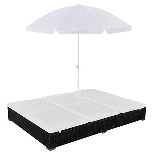 vidaXL Chaise Longue d'Extérieur avec Parasol Transat de Patio Bain de Soleil de Jardin Chaise Longue d'Extérieur Terrasse Plage Résine Tressée Noir