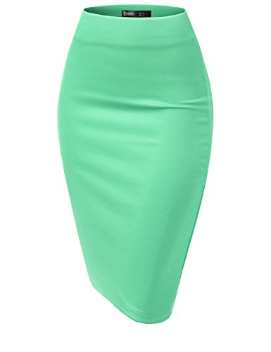 TWINTH Pencil Skirts Plus Size Casual Skirt Elastic Waist Band Scuba Streychy Solid Color Cyan XL Plus Size
