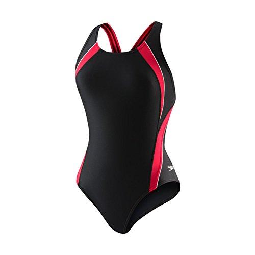 Speedo Women's PowerFLEX Eco Taper Splice Pulse Back One Piece Swimsuit, Black/Sapphire, 38