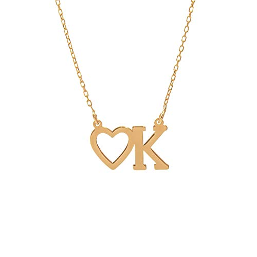 Lumarigold gouden dameshalsketting 585 14 k goud geelgoud ketting met hanger letter K hart gravure