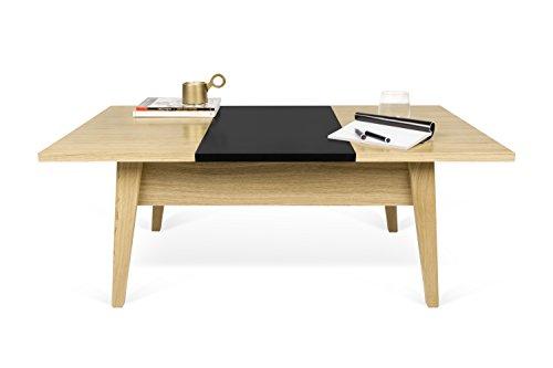 TemaHome Lime Table Basse, Chêne, Blanc/Noir, 105 x 60 x 40 cm