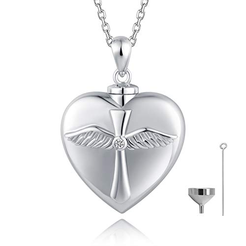 BEILIN 925 Sterling Silver Angel Wings Cross Urn Pendant Necklace Keepsake Memorial Heart Cremation Jewelry for Ashes: God has You in his arms I Have You in My Heart