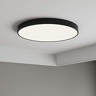 Anten 24W Plafonnier LED Noir Plafonnier Noir Salle de Bain Ultra-Mince IP40 Éclairage Plafond Blanc Neutre 4000K Lampe de...