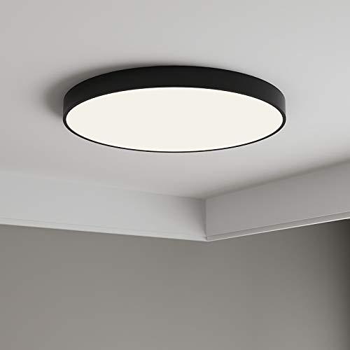 Anten 24W Plafonnier LED Noir Plafonnier Noir Salle de Bain Ultra-Mince IP40 Éclairage Plafond Blanc Neutre 4000K Lampe de Plafond Pour Salon,Salle de Bain,Chambre,Couloir,Cuisine,Couloir,Entrée,etc