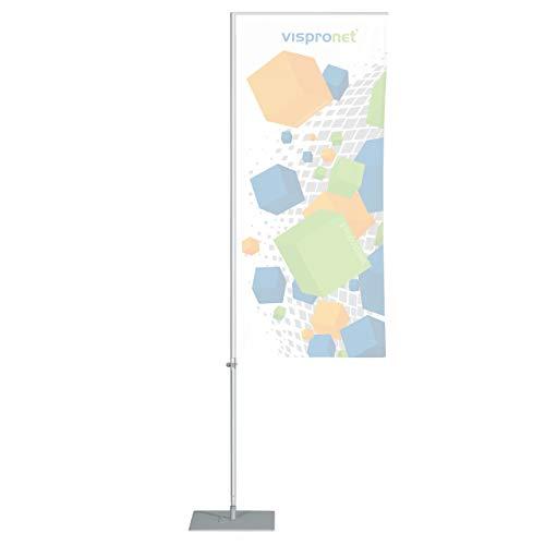 Vispronet® Mobile Fahnenstange mit Ausleger Indoor ✓ Aluminium ✓ versch. Bodenelemente ✓ versch. Größen ✓ für Fahnen/Flaggen (M: Höhe 3,50 m, Bodenplatte 40 x 40 cm)