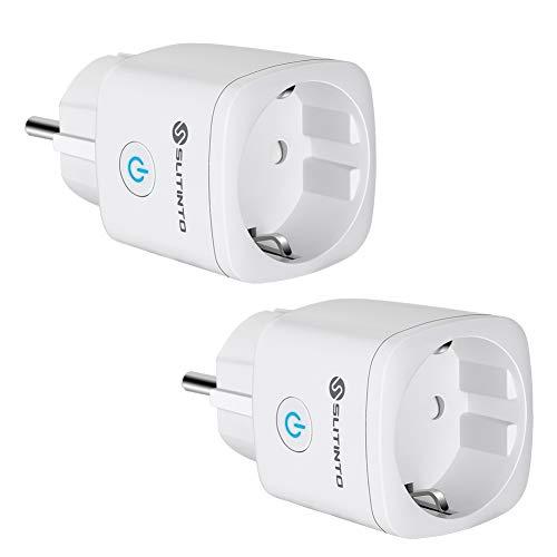 Enchufe Inteligente Wifi Compatible con Alexa Echo,Google Home y IFTTT, SLITINTO Inalámbrico Smart Mini Zócalo con Control Remoto, Establecer Horario,Monitor Energía, No necesitas de Hub,16A - 2 Pcs