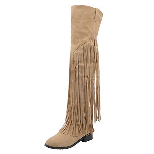 Birdsight Damen Overknee Flache Stiefel mit Fransen und Reißverschluss Bequem Herbst Winter Lange Boots (Beige,39)