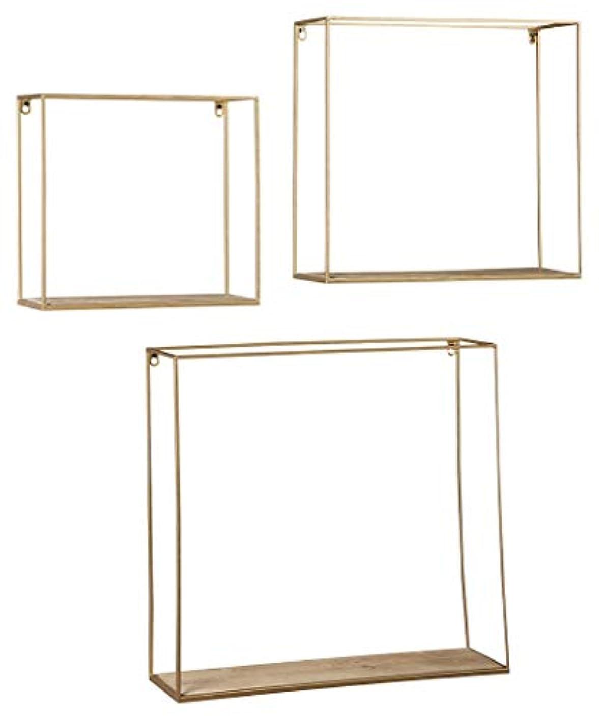 Signature Design by Ashley Efharis ((3 Piece) Wall Shelf Set, Natural/Gold Finish