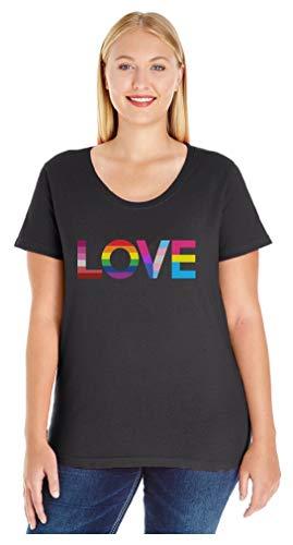 Love is Love Gay Pride Top Rainbow Flag Heart LGBT Women's Plus Size T-Shirt 4X (26/28) Black