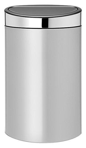 Brabantia Poubelle Touch Bin, 40 litres, Gris Métallique, Capacité 40 Litres, 72,7 cm x 43,5 cm x 30,2 cm
