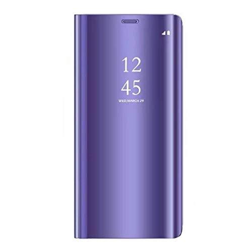 Funda Xiaomi MI A2 Lite/Xiaomi RedMi 6 Pro Carcasa Flip Clear View Translúcido Espejo Standing Cover Slim PC+PU Hard Anti-Scratch Fit Anti-Shock Anti-Rasguño Mirror 360°Protectora Cubierta (Morado)