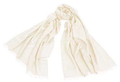 Avenella XXL Merino-Wollschal Damenschal (205x68 cm inkl. KURZE FRANSEN); Feiner & weicher unifarbener Schal Tuch Stola, 100% Wolle in vielen Farben, Wollweiss
