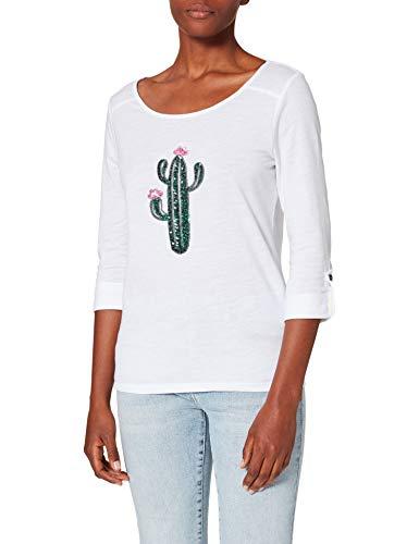 Only ONLKITA Jess 3/4 SEQ Top Jrs T-Shirt, Bianco/Stampa: Big Cactus, M Donna
