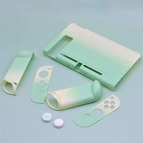 Xpccj Cases - Funda protectora ultrafina y desmontable con 2 tapas de pulgar de gato para consola Nintendo Switch y mandos Joy-Con (color: verde)