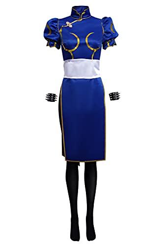 Enhopty Fighter SF Chun-Li Cheongsam - Disfraz de cosplay para mujer, talla XS