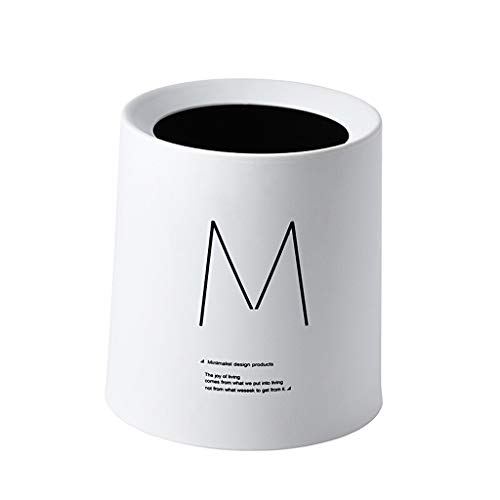 liushop Cubo de Basura Ronda Mini Bote de Basura, Cubo de Basura pequeño for Baño Dormitorio Oficina Papelera Cubo de Basura Papelera Ahorra Espacio (5,7' x 5' x 6') Bote de Basura (Color : White)