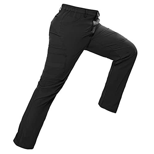 Hiauspor Pantaloni da trekking, da uomo, leggeri, elasticizzati, per lo sport, il tempo libero, estivi, per attività all'aperto, campeggio, arrampicata su roccia, casual, Nero , L