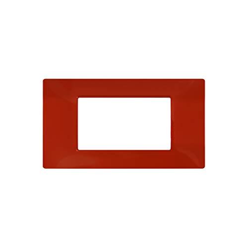 LineteckLED -6004-15- Serie Completa di Placche per Interruttori Prese- Placca 4 Posti 4M Compatibile Vimar - Serie Plana (Rosso)