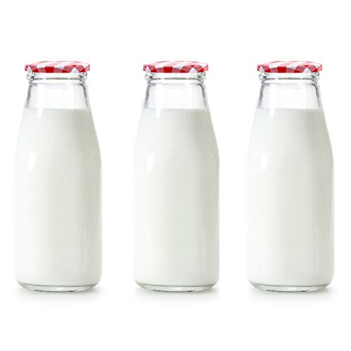 Danmu Art 3 botellas de leche de vidrio de 250 ml con tapas de guinga rojas pequeñas tarros de cristal para decoración