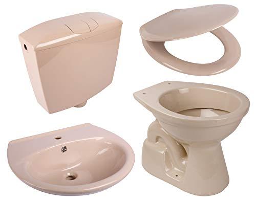 Calmwaters® - Set in Beige-Bahamabeige aus Stand-WC, WC-Sitz aus Duroplast, Spülkasten & Waschbecken - 99000196