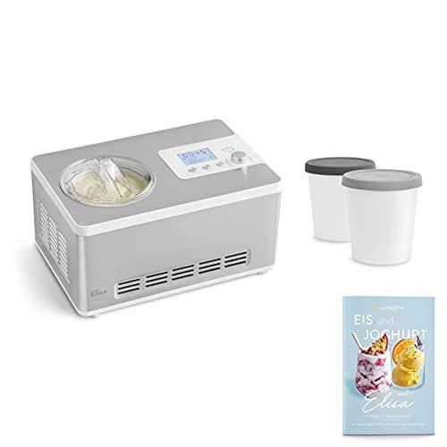 Eismaschine & Joghurtbereiter Elisa 2,0 L mit selbstkühlendem Kompressor 180 W inkl. Aufbewahrungsbehälter 2er-Set, aus Edelstahl mit Kühl- und Heizfunktion, inkl. Rezeptheft