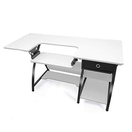 "Sewing Craft Table, Adjustable Height Specialized Sewing Machine Shelf, Multifunctional Computer Desk with Storage & Expandable Workstation, Ideal for Home Indoor Use, White(57.1'×23.6""×29.9"")"