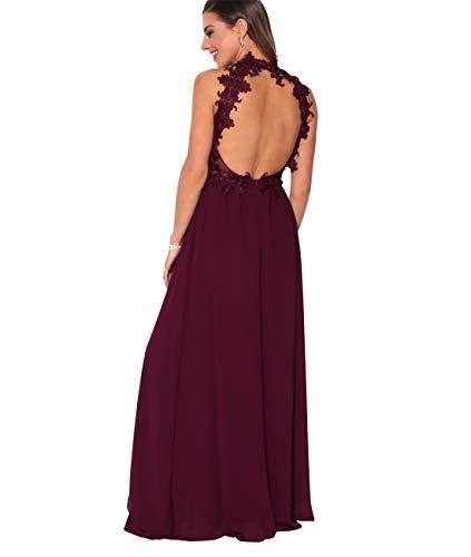 KRISP Vestido Fiesta Largo Gasa Dama Honor Corte Imperio Invitada Boda Talla Grande Elegante Madrina Ceremonia, Burdeos (4812), 42 EU (14 UK), 4812-WIN-14