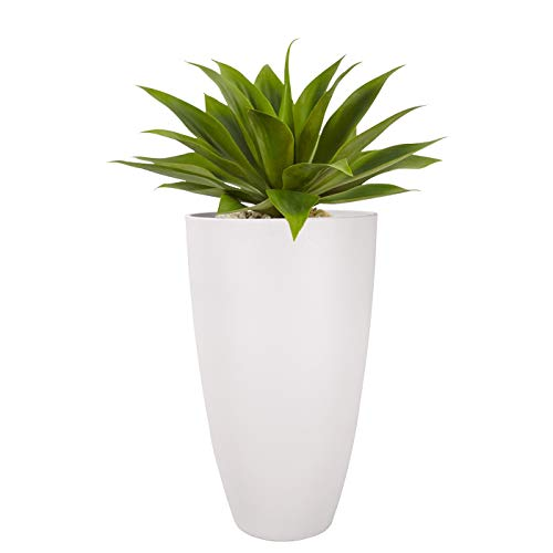 Tall Planters Outdoor Indoor - 20 inch Modern White Flower Pots with Drainage Holes for Balcony Garden Patio Deck Pack 1