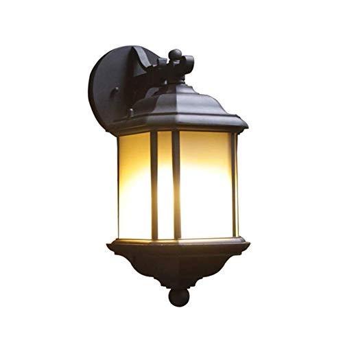Lámpara de Pared, Luces de Pared Negras para Exteriores, lámpara de Pared Retro de Aluminio Impermeable, 1 Llama, Pantalla de Vidrio marrón, lámpara de Pared para Exteriores, Aplique E27 para entrad