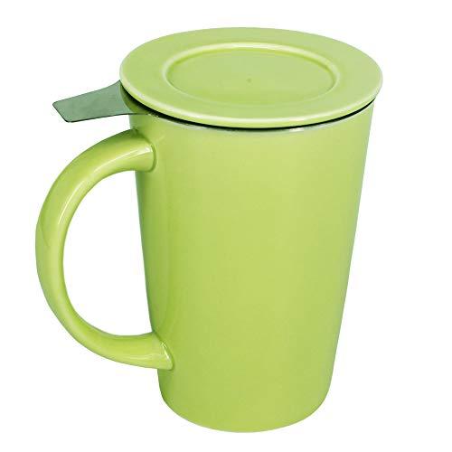 BPFY 12oz Porcelain Mug With Infuser and Lid, Ceramic Coffee Cup, Tea Cups for Coffee, Loose Leaf Tea, Milk (Green)
