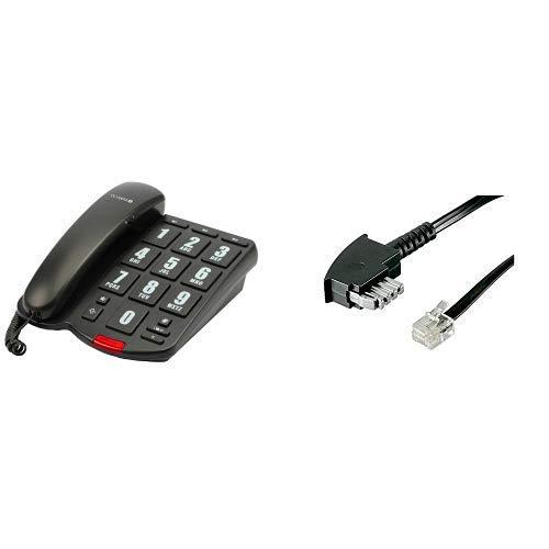 OLYMPIA 4205  Schnurgebundenes Großtasten Telefon schwarz & Goobay 50307 TAE-N Anschlusskabel (International)