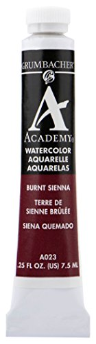 Grumbacher Academy Watercolor Paint, 7.5ml/0.25 Ounce, Burnt Sienna (A023)