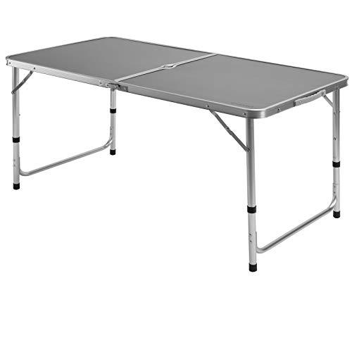 Casaria Mesa de Camping Plegable con asa para Transporte 120x60x70cm de Aluminio Altura Ajustable Gris para jardín Patio