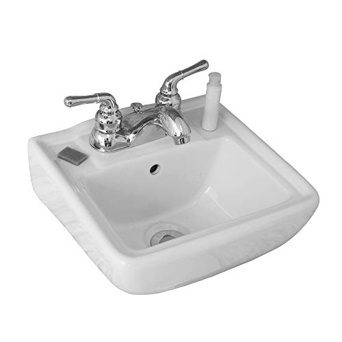 Small Wall Mount Bathroom Sink 12.4'x11' White