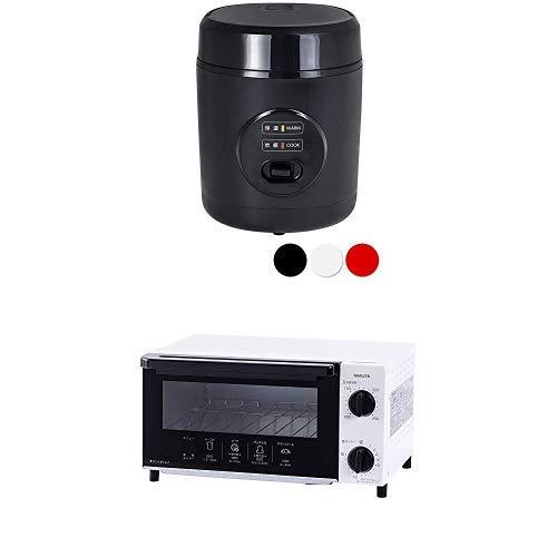 【炊飯器+オーブントースターセット】 [山善] 炊飯器 0.5~1.5合 ひとり暮らし用 ライスクッカー ブラック YJE-M150(B) & オーブントースター 温度調整機能付き ホワイト YTN-C101(W)
