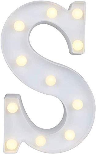 Gspirit LED Marquee Lettera Luci 26 Alfabeto Accendere Cartello Natale Luce otturna Lampada per Nozze Casa Festa Bar Decorazione (S)