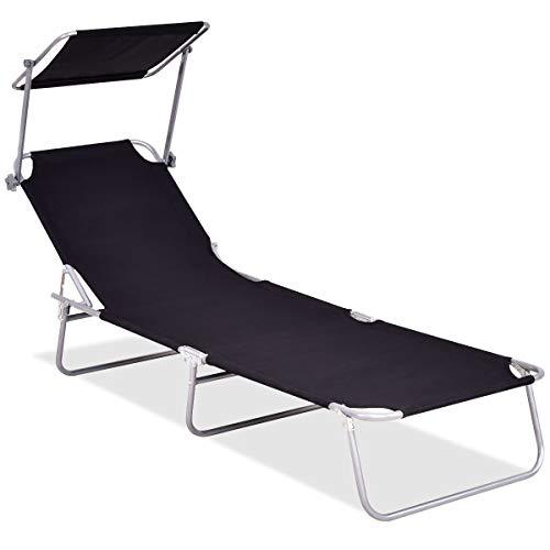 Giantex Lounge Chair W/Sun Shade Outdoor Portable Recliner(Black)