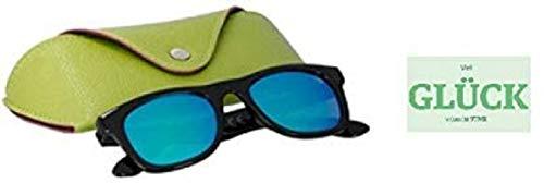 STMK Gafas de sol para niños, negro/azul, para niños y niñas, con funda + pegatina de suerte gratis