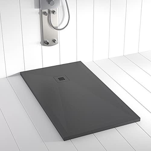 Shower Online Plato de ducha Resina PLES - 80x100 - Textura Pizarra - Antideslizante - Todas las medidas disponibles - Incluye Rejilla Color y Sifón - Antracita RAL 7011