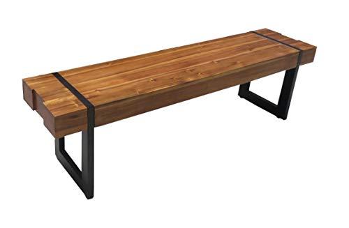 SAM Esszimmerbank 160 x 36 cm Lupin, Akazienholz cognacfarbig, Holzbank mit Balken-Optik, Sitzbank mit schwarz lackiertem Kufengestell