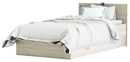 Miroytengo Cama con cajones Switch Color Roble y Blanco Juvenil Infantil habitación Dormitorio Mueble 90x190 cm