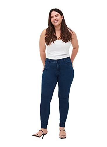 Zizzi Damen Amy Jeans Slim Fit Jeanshose Stretch Hose ,Blau,44W / 32L (Herstellergröße: 44 / 82cm)