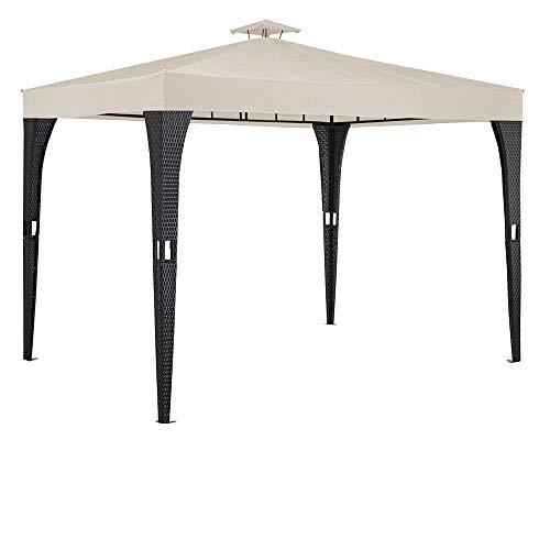 Deuba Pavillon 3x3m Poly Rattan Dachhaube Schmutzabweisend UV-beständig Gartenzelt Festzelt Partyzelt Creme
