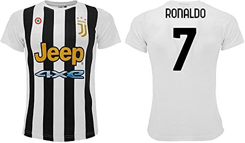 Sportbaer Camiseta de fútbol Cristiano Ronaldo, temporada 2021 2022. Camiseta blanca negra número 7. Primera camiseta. Réplica oficial autorizada. Tallas de adulto y niño., blanco, 6 años