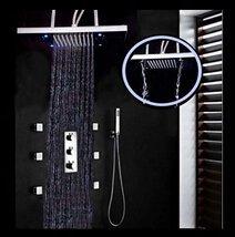 XUSHEN-HU Grifo de cromo al por mayor y al por menor montado en el techo led cascada lluvia ducha ducha ducha termostática grifo mezclador de la válvula/6 piezas chorros de masaje, baño transparente
